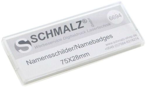 Sicherheitsnadel Papiereinschub 10x Kunststoff-Namensschilder weiß mit Magnet