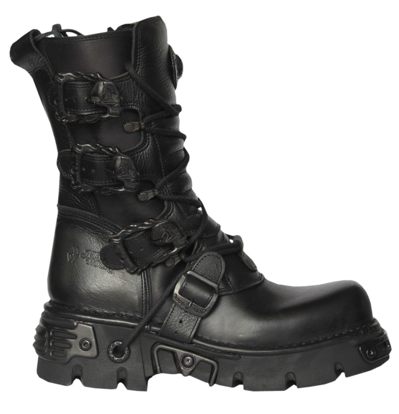 NEWROCK New Rock M.391-S18 Black Metallic Punk Reactor Goth Biker Unisex Boots