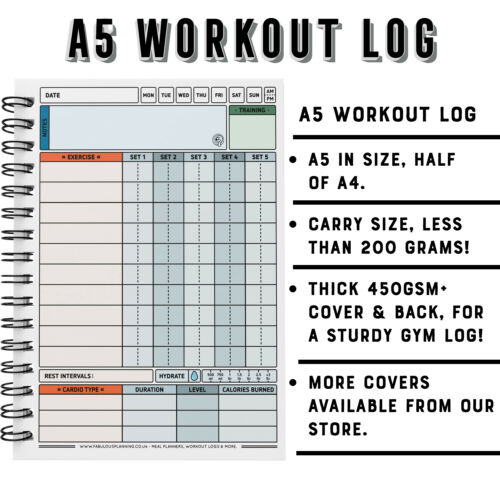 Fitness Training Diary Sets Reps Weights Record 500 Workout Log Gym A5 Book