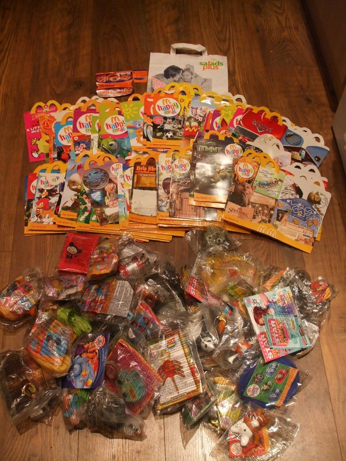 Rare mcdonalds boxes and 42 toys 57 boxes fron 2003 to 2008 happy meal