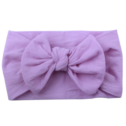 2020 Girls Baby Toddler Turban Solid Headband Hair Band Bow Accessories Headwear