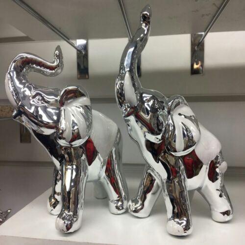 ELEPHANTS PAIR Ceramic Garden Ornament Statue Sculpture Figurine Wedding Gift