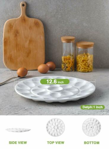 "12.6/"" Porcelain Platter Deviled Egg Dish Round White Microwave Oven Safe"