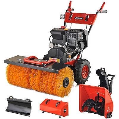 Benzin Kehrmaschine Schneefräse 13 PS Elektrostarter Schneeschieber Motorbesen