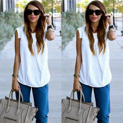 2015 Women Summer Fashion Sexy Sleeveless White Chiffon Blouse Tops T shirt S-XL