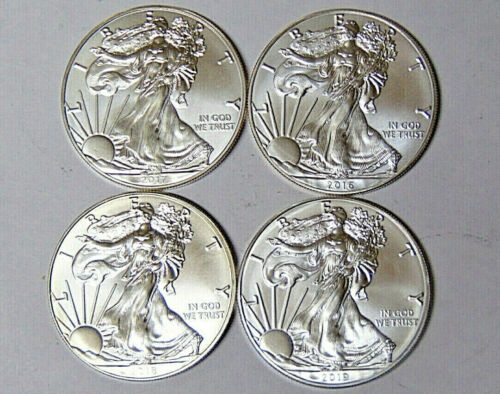 Lot of 4 American Silver Eagles 2016 2017 2018 2019 .999 Fine Silver Dollars