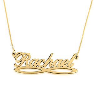 Personalized Custom 24K Gold Plated Vertical Capital Name Necklace Jewelry