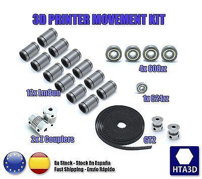 3d printer reprap prusa i3 movement kit GT2 belt pulley 608zz lm8uu 624zz
