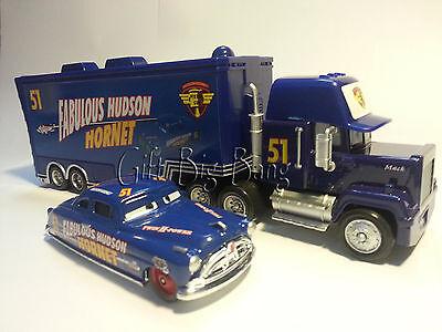 Disney Pixar Cars No.51 Mack Racer's Truck & Fabulous Hudson Hornet Toys New
