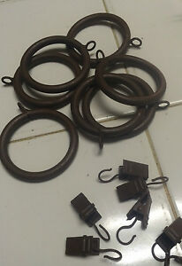 LOT of 7 BROWN IRON RINGS w/ CLIPS for curtains draperies R249 -FITS 1 3/8 INCH
