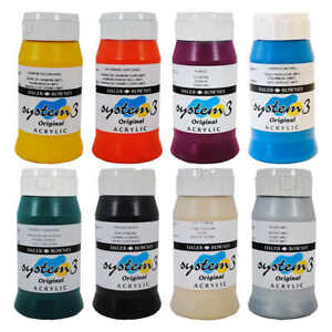Daler-Rowney-System-3-Original-Acrylic-Paint-500ml-Pots-45-Colours-Available