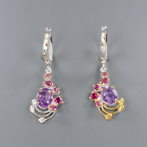 Fashion Art Design SET Amethyst Earrings Silver 925 Sterling   /E46637