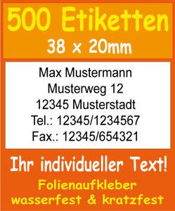 500-Adressetiketten-Adressaufkleber-Folie-wasserfest-mit-Wunschtext-drucken-A101