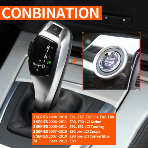 Automatic LED Shift Knob Gear Shifter For BMW E90 E92 E93 F30 Style Silver