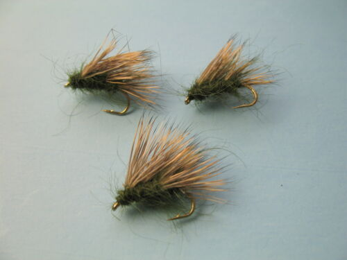 3 x OLIVE SEDGE HOG DRY TROUT FLIES size 10 or 12 available