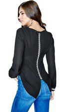 NWT GUESS Embellished popover Top Blouse Black w/ rhinestones & pearls XS 1 2 3