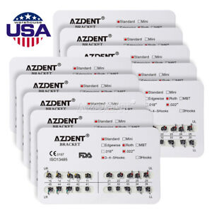 10-Packs-Orthodontics-Dental-Brackets-Standard-Roth-022-034-Slot-3-4-5-Hooks-AZDENT