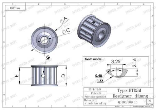 5M HTD5M Aluminum Timing Belt Pulley 20 Teeth 8mm Bore 16mm width Stepper Motor