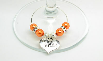 Originale Orange Pearl Personalizzato Matrimonio Famiglia Tavolo Partito Da Vino In Vetro Charms-mostra Il Titolo Originale