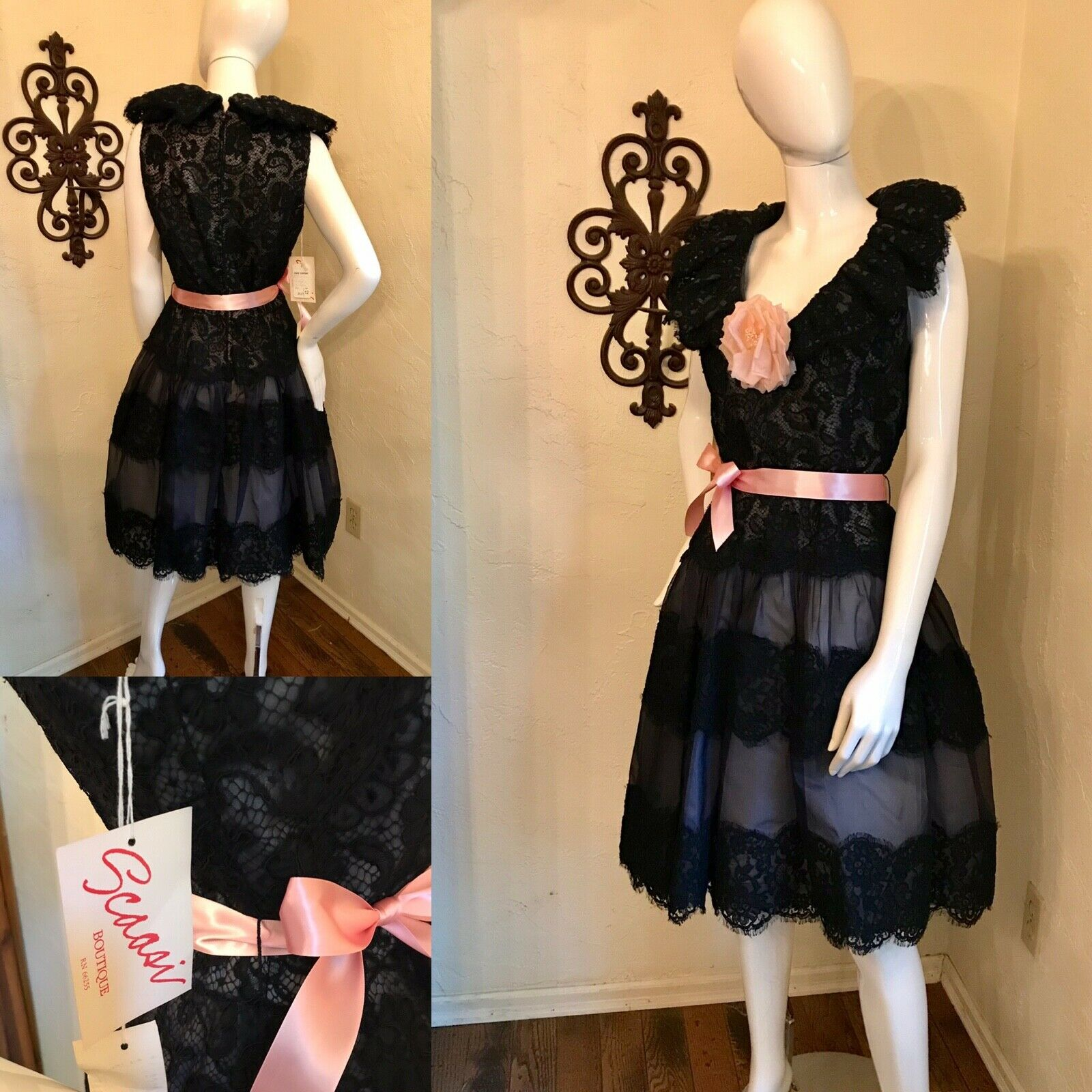 VINTAGE 1980's SCAASI BOUTIQUE Black Lace Cocktai… - image 1