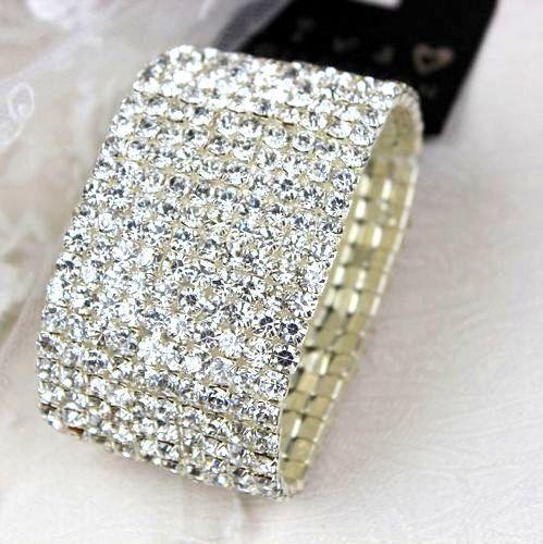4 1 5 Hileras Cristal Claro De Oro Blanco Plateado Pulsera del estiramiento 3 2