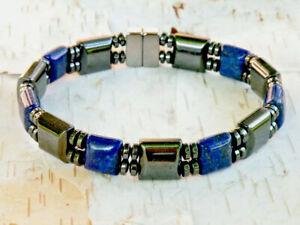 Men's Women's Magnetic Hematite Necklace Bracelet Anklet Blue Sodalite Therapy