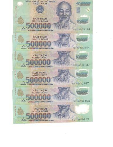 6X VIETNAM $500000 DONG POLYMER BILL BANKNOTES