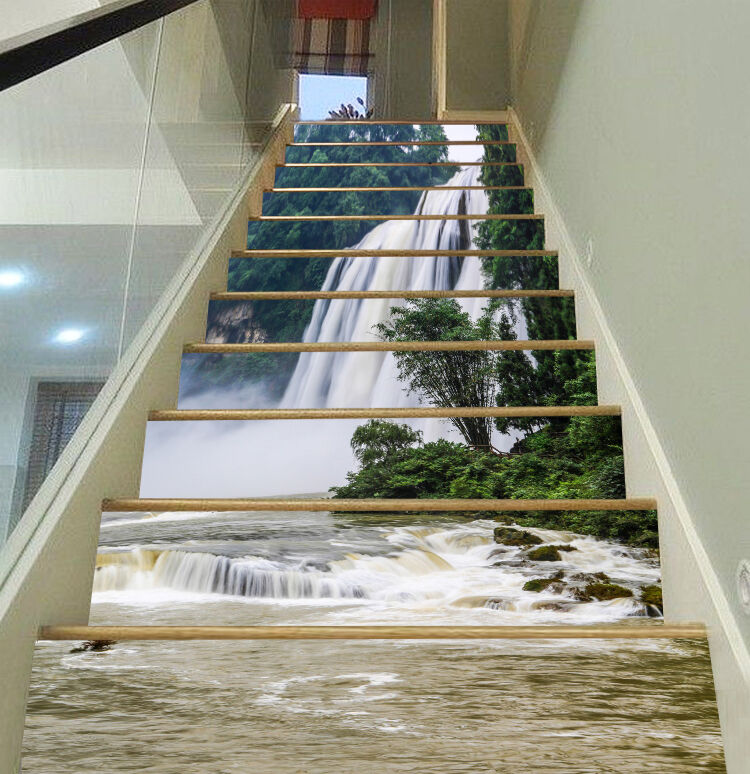 3D Pentium Falls 53 Stair Risers Dekoration Foto Mural Vinyl Decal Wallpaper UK