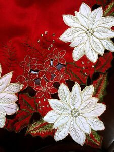 Image Is Loading Kori Poinsettia Tablecloth Embroidered Red Oblong Seats 10