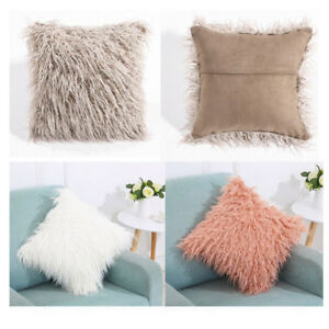 Image Is Loading 18 034 Square Throw Fur Fluffy Sofa Pillow