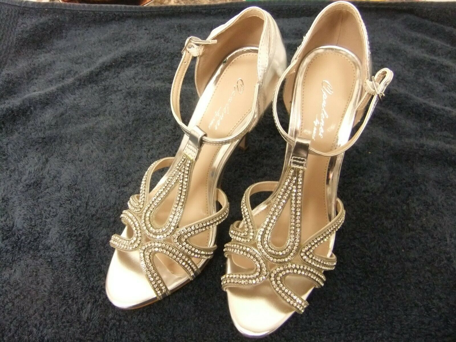 Silver colour opulence sandals from next with sparkle stones.size 5.