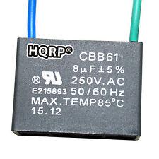 HQRP Capacitor de Motor para Harbor Breeze de Ventilador 8uf, 2-Alambres / CBB61