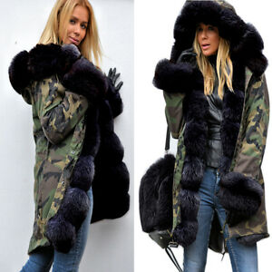 Roiii Winter Women's Camouflage Black Fur Hooded Parka Thicken ...