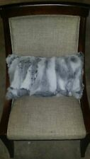 Handmade 100% Genuine Rabbit Fur 12x20 Silver, White, Grey, Taupe Pillow Cushion