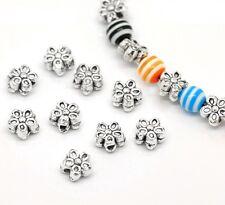 50x Metallperlen Spacer beads antiksilber Blume 7mm NEU