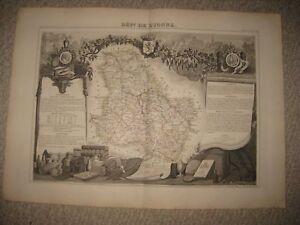 Map Of Yonne France.Superb Antique 1856 L Yonne Yonne France Levasseur Map Wine Region