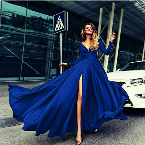 Women Formal Cocktail Sleeve Neck Dress Gown Long V Ball Prom  Party Evening
