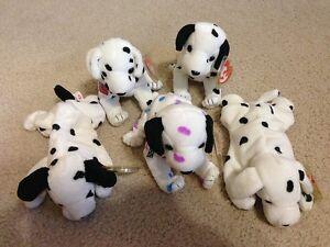 Ty Beanie Babies 5 Dalmatian Dogs - Dizzy, Rescue, Dottie, Sparky w/ Misprint