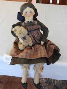 Antique Vtg Baby Doll Pink Wool Winter Warm Primitive Teddy Bear Prim A34