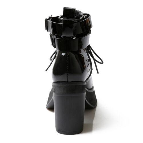 verni à compensés femmes Plateforme Bottes bout cuir en à à pour rond talons cuir verni lacets en 88BCq