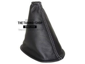 Soufflet de levier Cuir Noir Blanc Couture