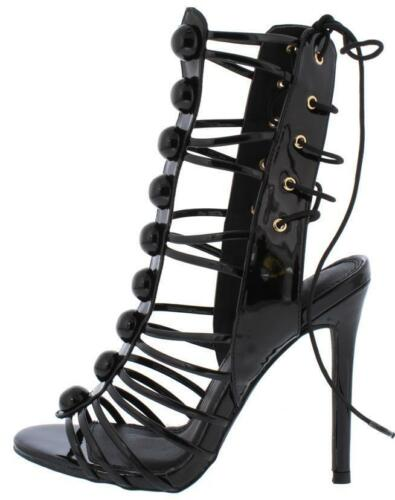 Leather Patent beaded Stiletto High Heels Strappy Open Toe Gladiator Sandal H159