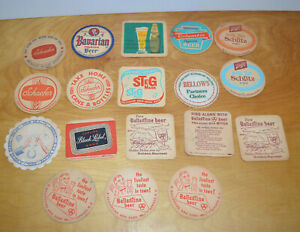 Vintage-BEER-COASTER-Lot-BREWERIANA-Advertising-1950-039-s-Schlitz-Bavarian-Schaefer