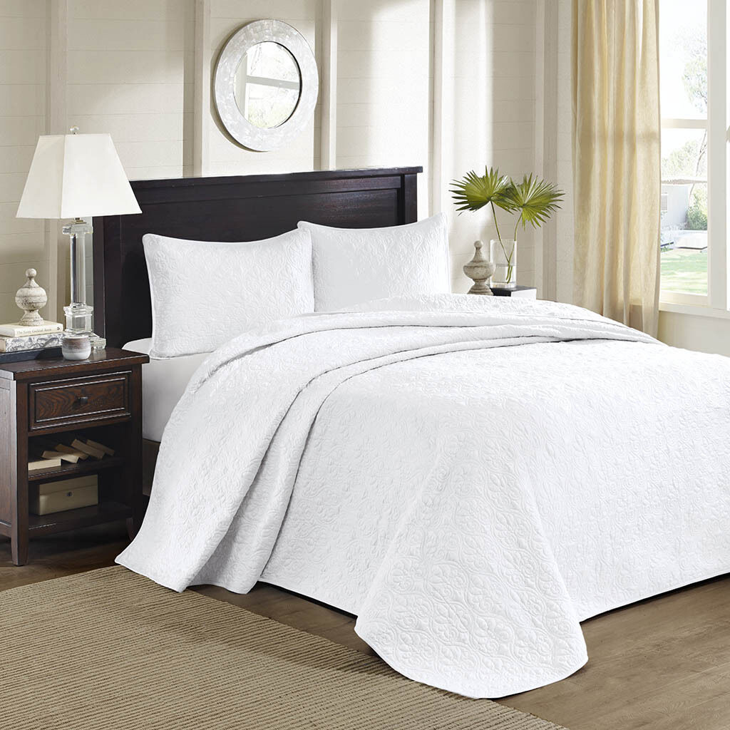 BEAUTIFUL XXXL Weiß SCROLL VINTAGE MODERN TEXTURE STITCH QUILT BEDSPREAD SET