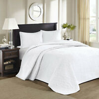 Beautiful Xxxl Classic White Scroll Vintage Modern Stitch Quilt Bedspread Set