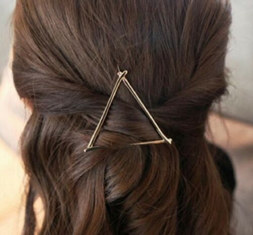 Large Triangular Hair Pin in Silver or Gold Stick Clip Grip Slide Triangle UK