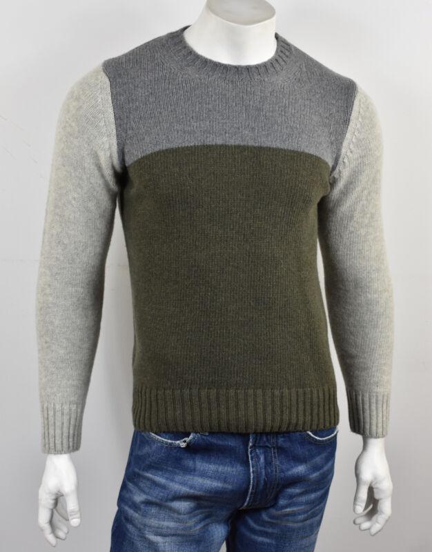 Emozioni Uomo Grau & Olive Farbblock M Gewicht Strick Rundhals Pullover S