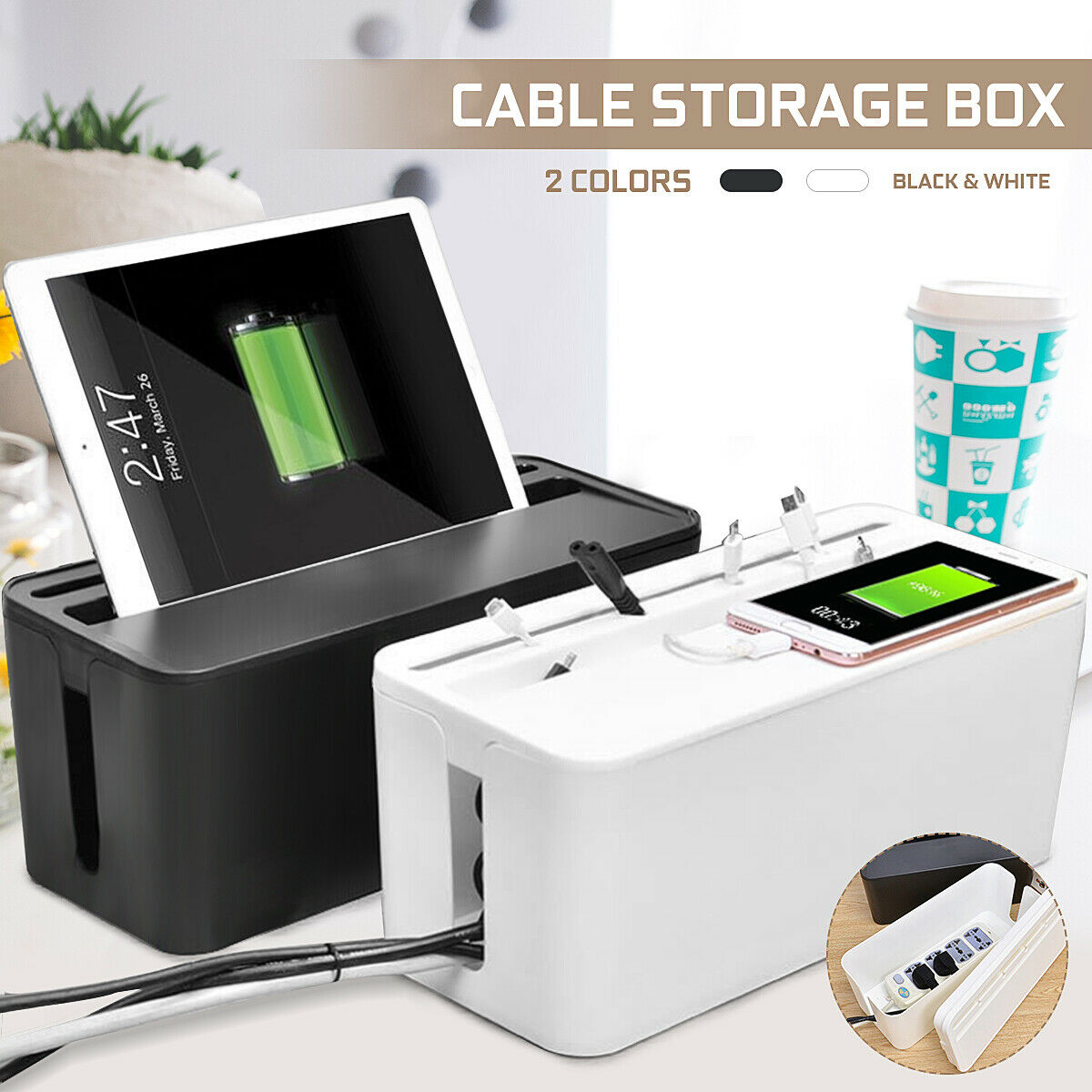 Cable Management Organizer Box for Power Strip HDMI USB Cord Hider Manager for