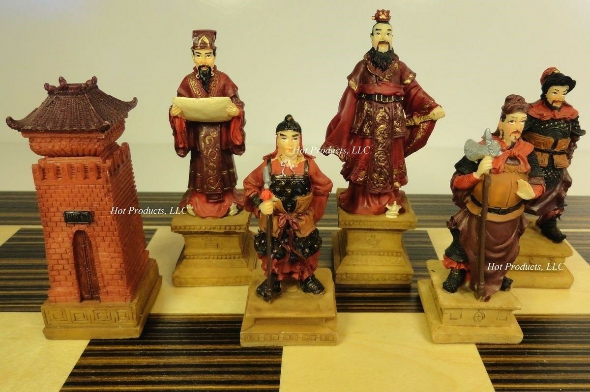 ORIENTAL THREE KINGDOMS Chess Chess Chess Set W  LARGE 22  EBONY & MAPLE WOOD Board 4ae1f4