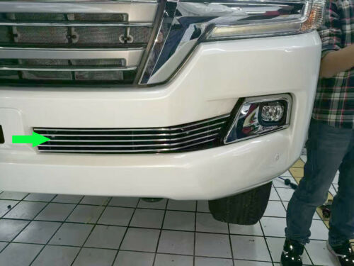 2x For Toyota Land Cruiser 2016-17 Car Front Bumper Stainless Steel Grille Trims